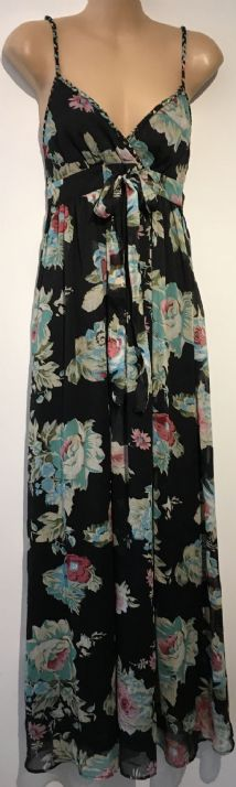 APRICOT BLACK TEAL FLORAL CHIFFON MAXI DRESS SIZE UK 8-10
